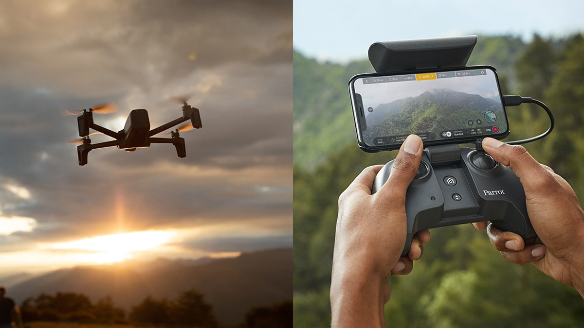 Parrot Anafi folding drone remote flying sunset