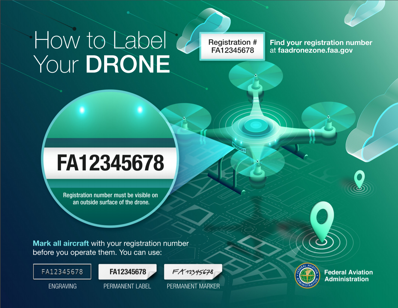 FAA drone registration number placement