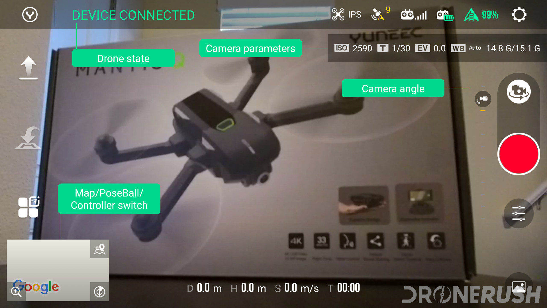 Yuneec Mantis Q Yuneec Pilot app camera options