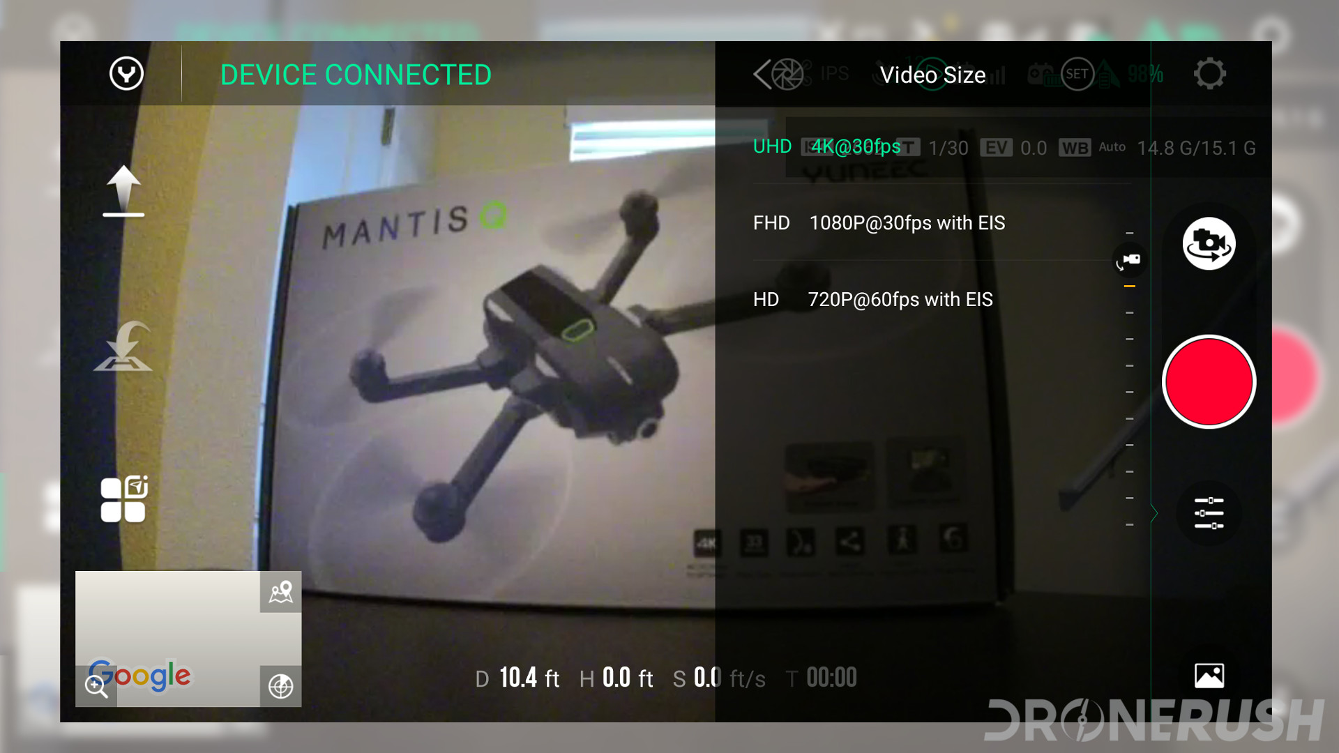 Yuneec Mantis Q Yuneec Pilot app video resolution