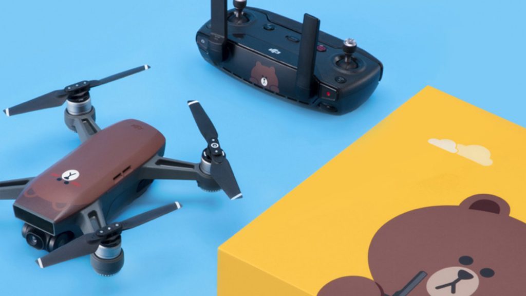 dji spark line partnership. This is the same DJI Spark, but with a new design, including a brown bear.