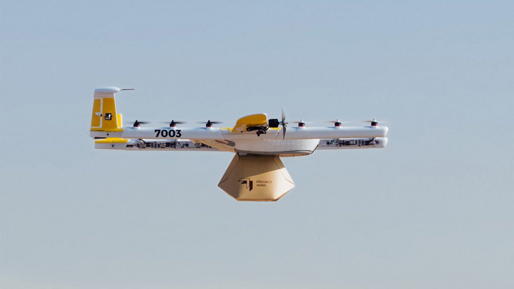 google project wing delivery drone in flight