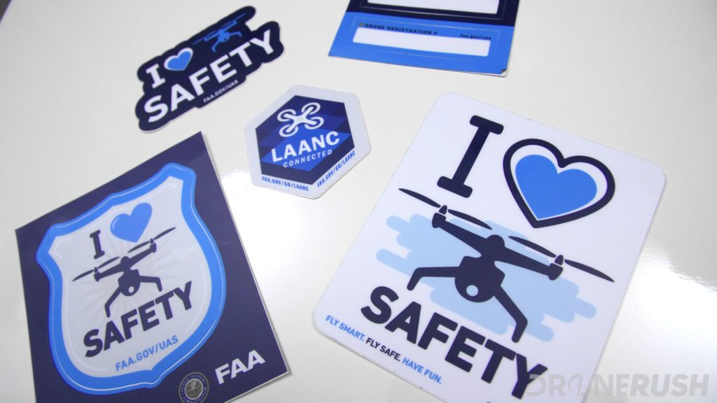 FAA LAANC love safety registration AUVSI sticker pack