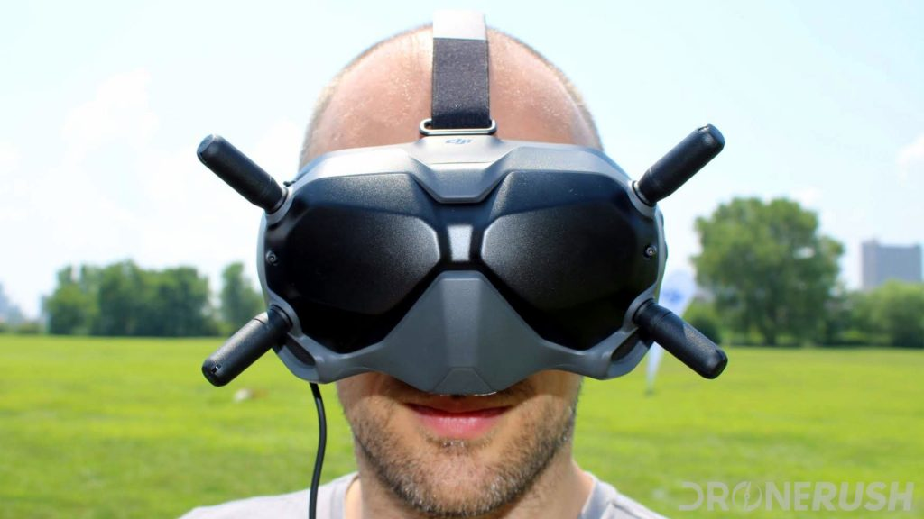 DJI Digital FPV system Goggles on head front