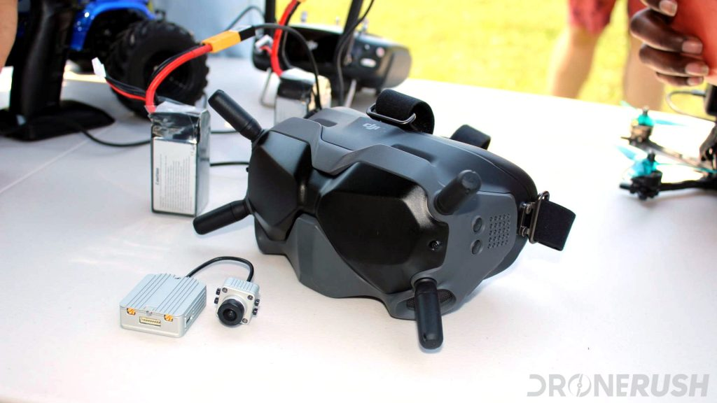 DJI Digital FPV system racing goggles on table