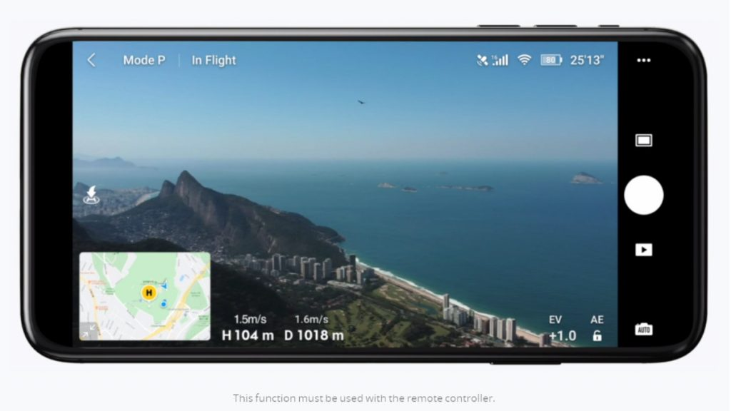 DJI Fly app for DJI Mavic Mini live view map overlay