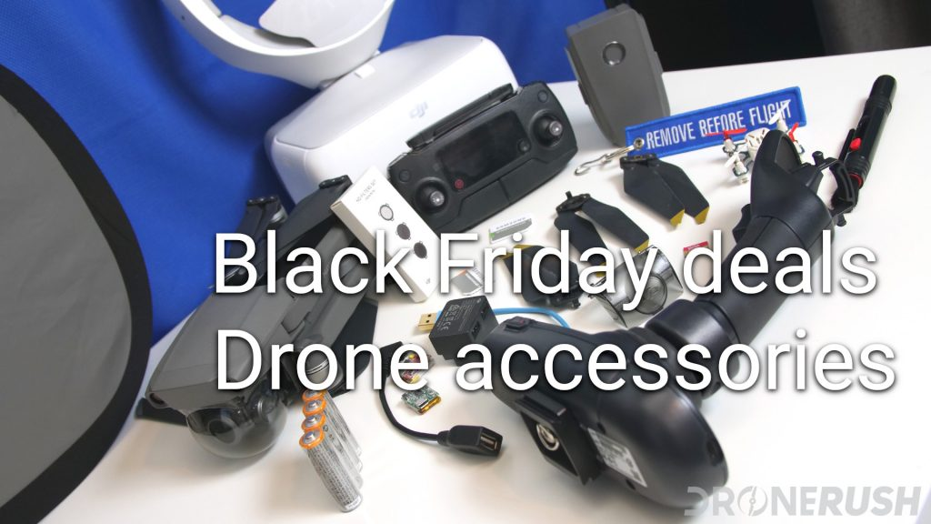 Drone accessories with propellers, batteries, controller, gimbal cover, VR headset, cables and Mavic 2 Zoom