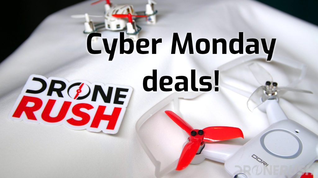 Cyber Monday deals with Drone Rush logo Hubsan H111 Uvify OOri top